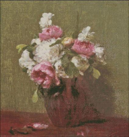 click here to view larger image of Fantin-Latour White Peonies and Narcissus (chart)