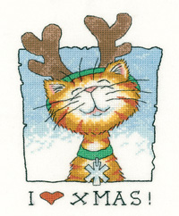 I Love Christmas - Cats Rule (27ct) - click here for more details about counted cross stitch kit