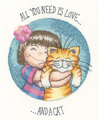 click here to view larger image of All You Need Is Love and A Cat - Cats Rule (Aida) (counted cross stitch kit)