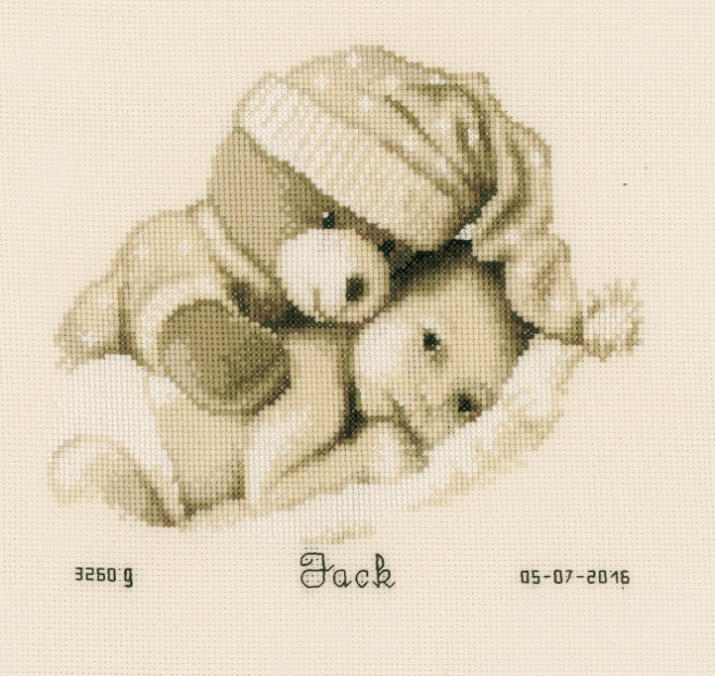 click here to view larger image of Bear Hugging Baby Birth Announcement (counted cross stitch kit)