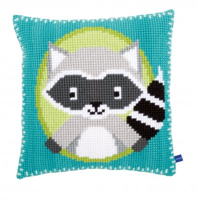 click here to view larger image of Raccoon Cushion (needlepoint)