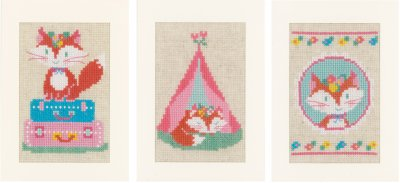 click here to view larger image of Little Fox On Travel (3 designs) (counted cross stitch kit)