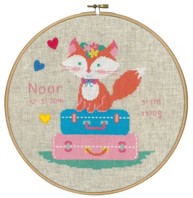 click here to view larger image of Fox Birth Announcement (counted cross stitch kit)