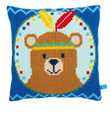 click here to view larger image of Bear With Feather Cushion (needlepoint)
