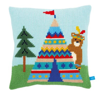 click here to view larger image of Bear and Teepee Cushion (needlepoint)