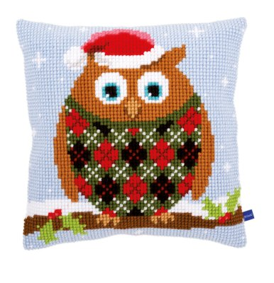 click here to view larger image of Christmas Owl Cushion (needlepoint)