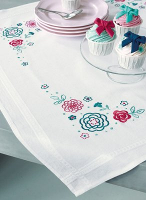 click here to view larger image of Modern Flowers Tablecloth (counted cross stitch kit)