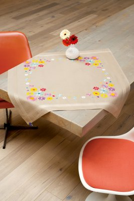 click here to view larger image of Bright Flowers Tablecloth (counted cross stitch kit)