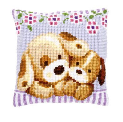 click here to view larger image of Cuddling Dogs Cushion (needlepoint)