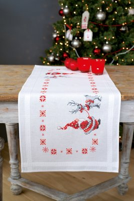 click here to view larger image of Christmas Elves Table Runner (counted cross stitch kit)