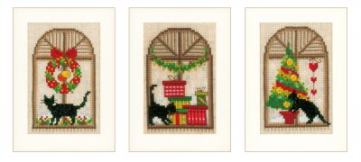 click here to view larger image of Christmas Cards (3 Designs) (counted cross stitch kit)