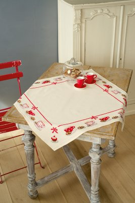 click here to view larger image of Coffee Break Tablecloth (counted cross stitch kit)