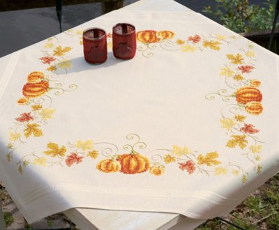 click here to view larger image of Pumpkins Tablecloth (counted cross stitch kit)