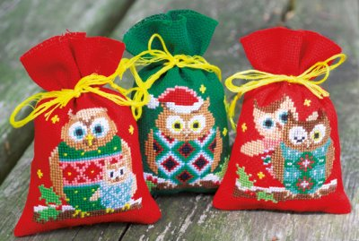 click here to view larger image of Christmas Owls - Set of 3 Bags (counted cross stitch kit)