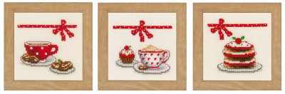 click here to view larger image of Coffee and Cake - Set of 3 Miniatures (counted cross stitch kit)
