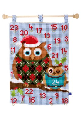 click here to view larger image of Christmas Owls - Wall Hanging (counted cross stitch kit)