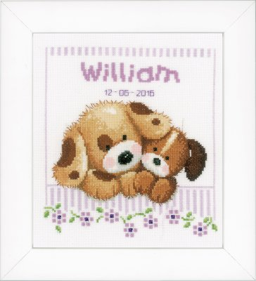 click here to view larger image of Cuddling Dogs - Birth Announcement (counted cross stitch kit)