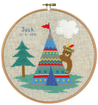 click here to view larger image of Indian Bear and Tent (counted cross stitch kit)