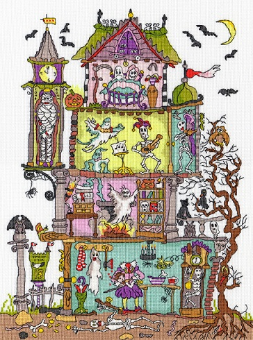 click here to view larger image of Cut Thru Haunted House (counted cross stitch kit)
