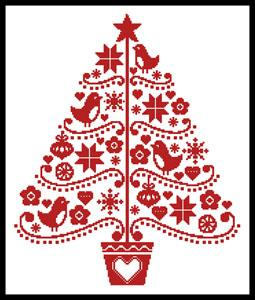 click here to view larger image of Folk Art Christmas Tree (chart)