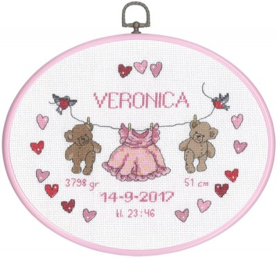 click here to view larger image of Girl Birth Announcement (counted cross stitch kit)