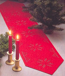 click here to view larger image of Hardanger - Red Table Topper (Hardanger and Cut Work)