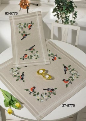 click here to view larger image of Bullfinch Table Runner (Top) (stamped cross stitch kit)