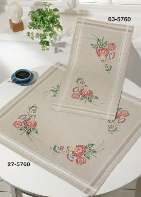 click here to view larger image of Colorful Flowers Table Runner (Top) (stamped cross stitch kit)