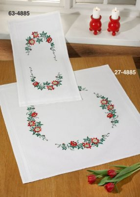 click here to view larger image of Christmas Roses Table Runner (Top) (stamped cross stitch kit)