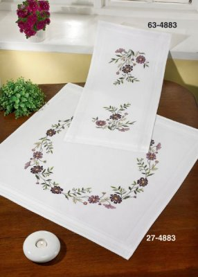 click here to view larger image of Flowers Dark Table Runner (Top) (stamped cross stitch kit)