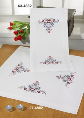 click here to view larger image of Classic Flowers Table Runner (Top) (stamped cross stitch kit)