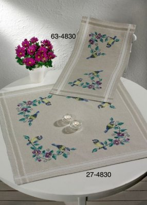 click here to view larger image of Blue Tit Table Runner (Top) (stamped cross stitch kit)