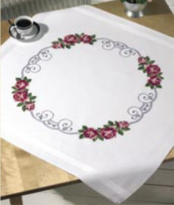 click here to view larger image of Roses Circle Table Cloth (stamped cross stitch kit)