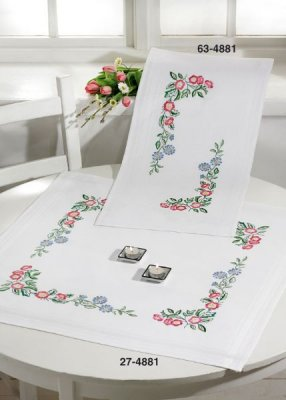 click here to view larger image of Classic Flowers Table Cloth (Lower) (stamped cross stitch kit)