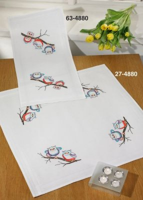 click here to view larger image of Owls Table Cloth (Lower) (stamped cross stitch kit)