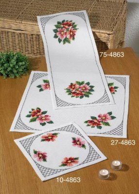 click here to view larger image of Cosmos Table Cloth (Center) (counted cross stitch kit)