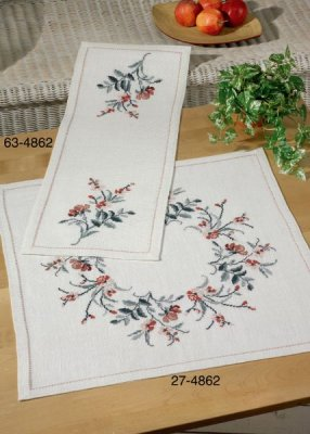 click here to view larger image of Flowers Table Cloth (Lower) (counted cross stitch kit)