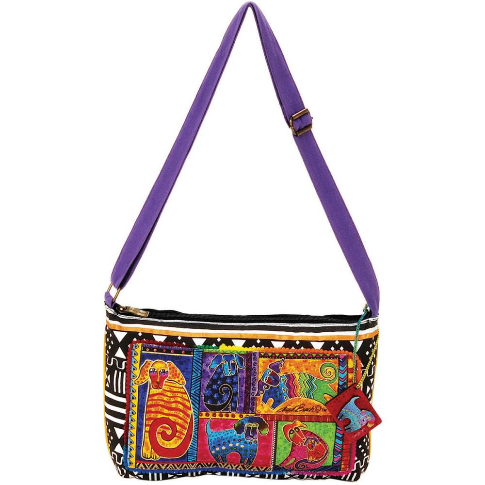 click here to view larger image of Dog Tails Patchwork - Medium Crossbody Zipper Top (accessory)