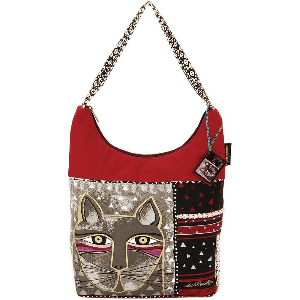click here to view larger image of Whiskered Cat - Medium Scoop Tote Zipper Top (accessory)