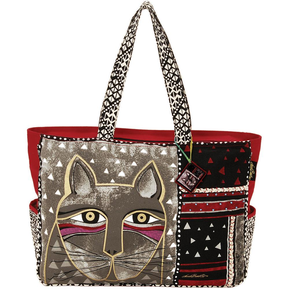 click here to view larger image of Whiskered Cat - Oversized Tote Zipper Top (accessory)