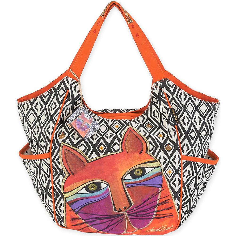 click here to view larger image of Whiskered Cats - Orange - Scoop Tote (accessory)