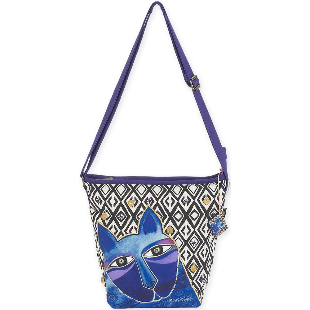 click here to view larger image of Whiskered Cats - Blue - Crossbody Bag (accessory)