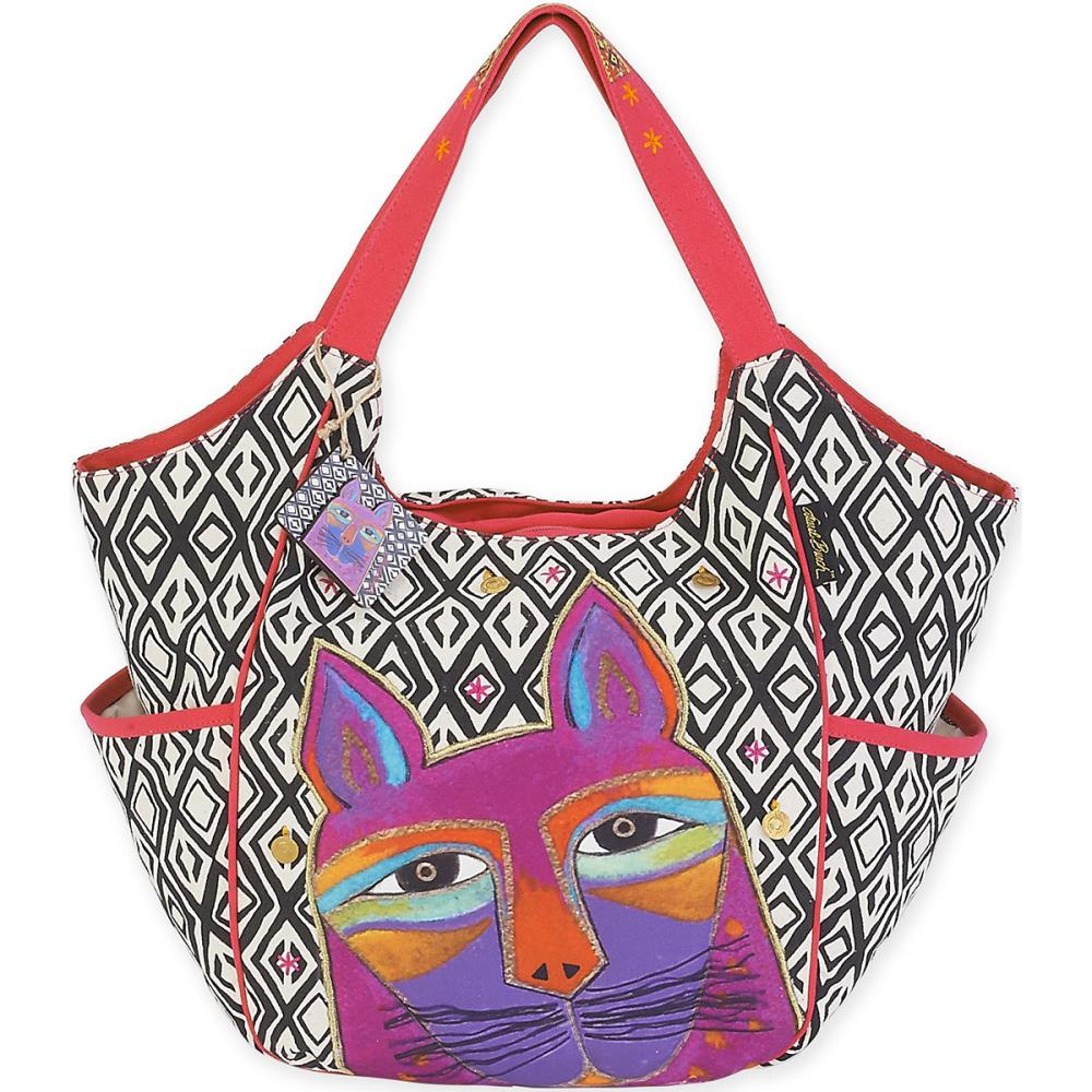click here to view larger image of Whiskered Cats -  Fuchsia - Scoop Tote (accessory)