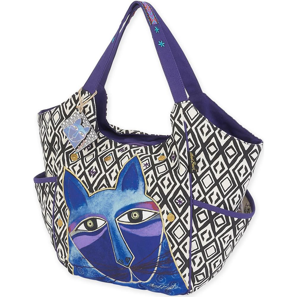 click here to view larger image of Whiskered Cats -  Blue - Scoop Tote (accessory)