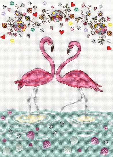 click here to view larger image of Love Flamingo (counted cross stitch kit)