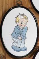 click here to view larger image of Water Closet Sign - Boy (counted cross stitch kit)