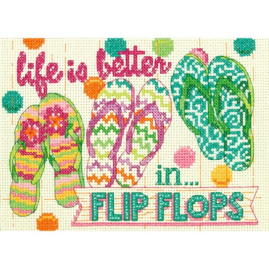 click here to view larger image of Flip Flops (counted cross stitch kit)