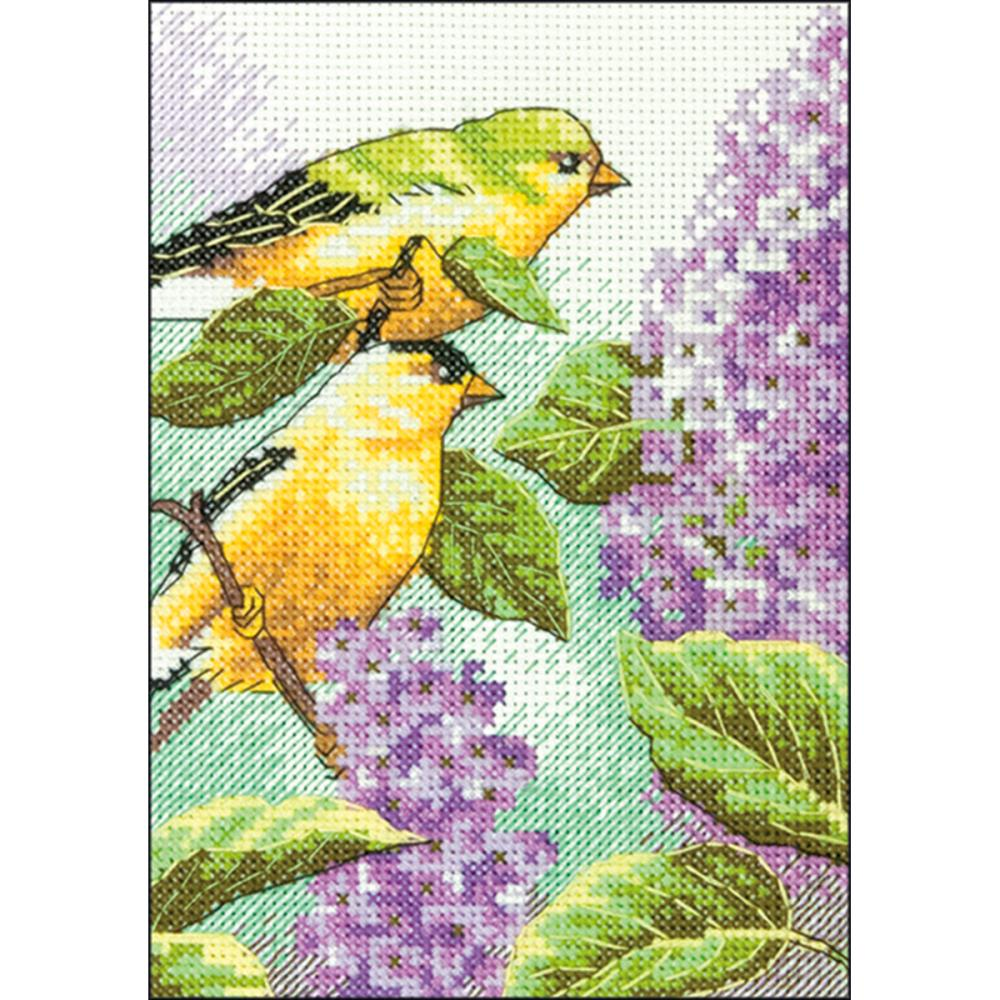 click here to view larger image of Goldfinch and Lilacs (counted cross stitch kit)