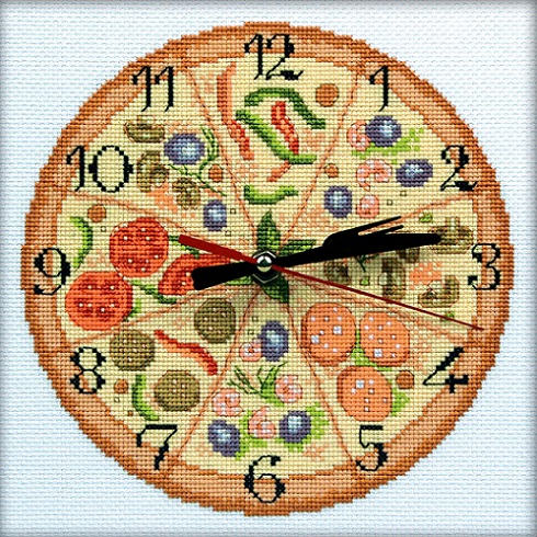 click here to view larger image of Bon Appetit! Clock (counted cross stitch kit)