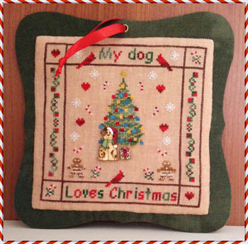 click here to view larger image of My Dog Loves Christmas (Buttons included) (chart with charms/buttons)